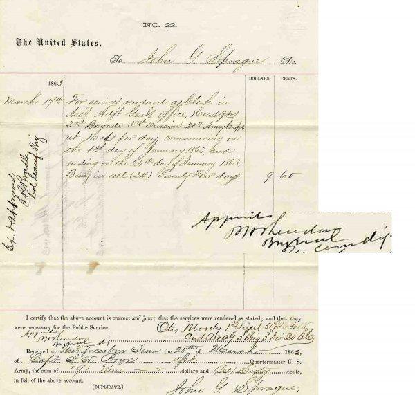 2361: Civil War Document Signed Cavalry General Sherida
