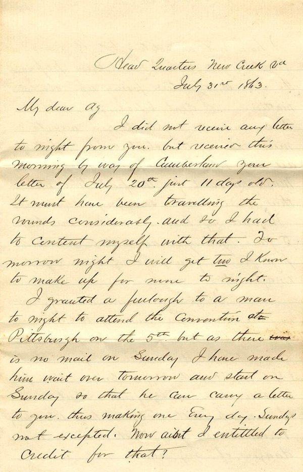 2371: Civil War Soldier PA Signed Letter 1863 Union CW
