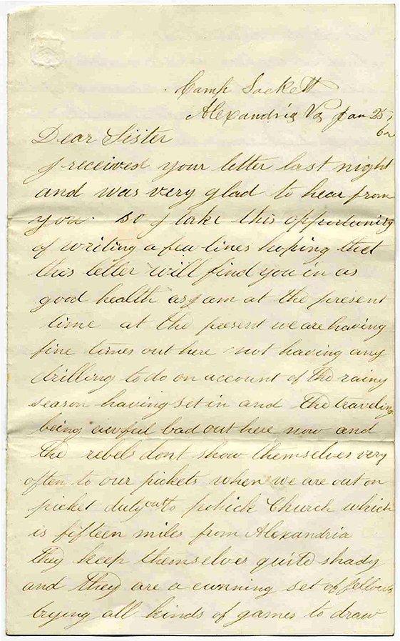 2373: Civil War Letter ALS Soldier 40th NY Infantry 186