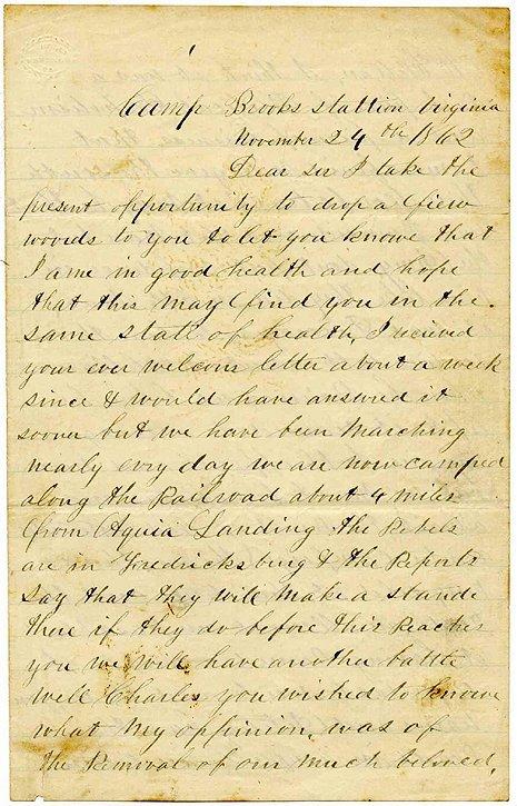 2374: Civil War Soldier Letter Signed Camp Brooks ALS