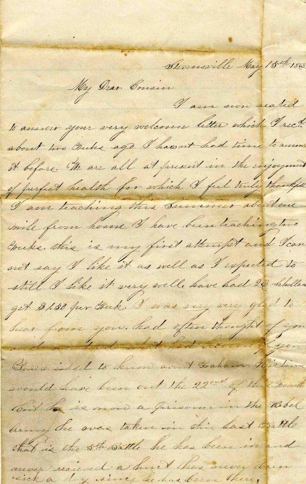 2378: Civil War Letter ALS Rebel POW 1863 CW