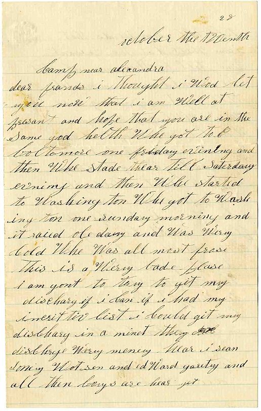 2380: Civil War KIA Soldier Letter Signed 107 PA Pennsy