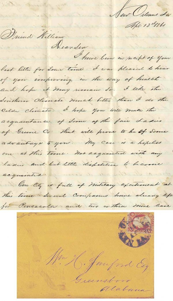 2543: Civil War Soldier Confederate Signed Letter 1861