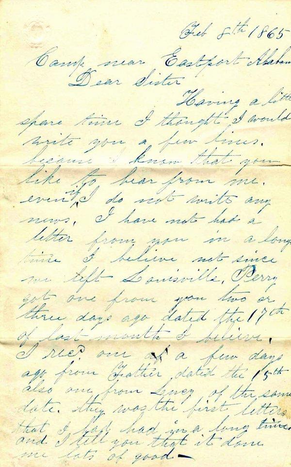 Civil War Soldier Wisconsin 1st Cavalry Letter 1865 CW