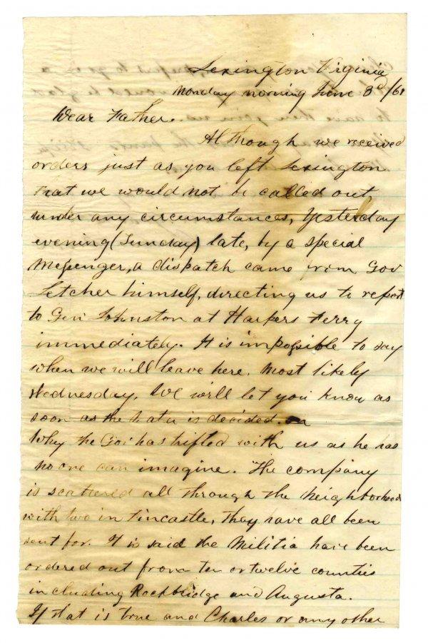 Civil War Soldier Confederate Rebel Letter 1861 ALS CW