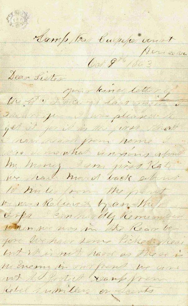 Civil War Soldier KIA 15th MA Infantry ALS 1863 Letter