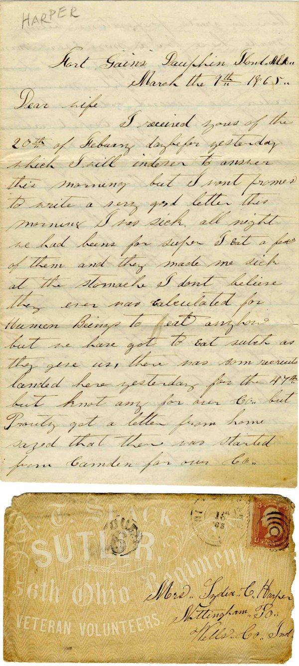 Civil War Soldier Letter 69th IN Infantry Spanish Fort