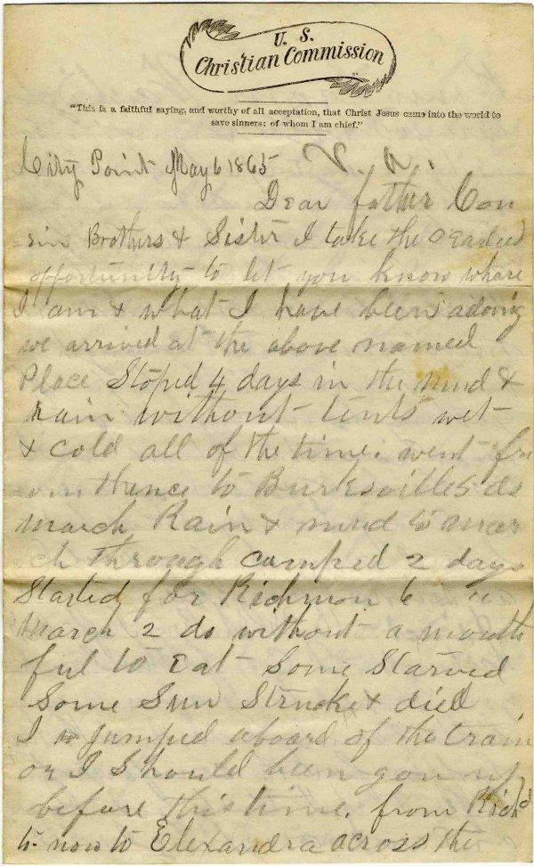 Civil War Soldier MI 16th Infantry Signed Letter 1865