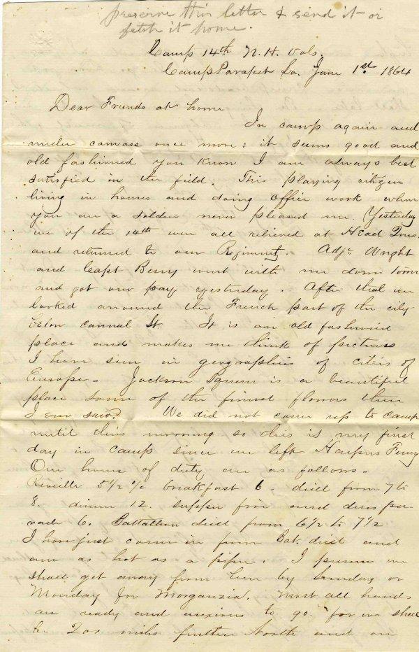 Civil War Soldier New Hampshire 14th Infantry ALS 1864