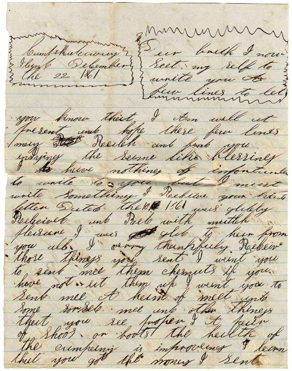 Civil War Soldier Confederate Signed Letter 1861 ALS CW