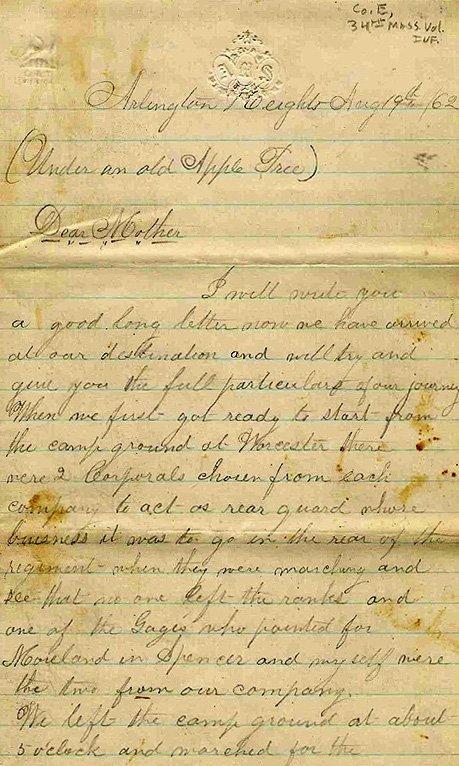 Civil War Soldier 34th MA Infantry ALS 1862 POWs Letter