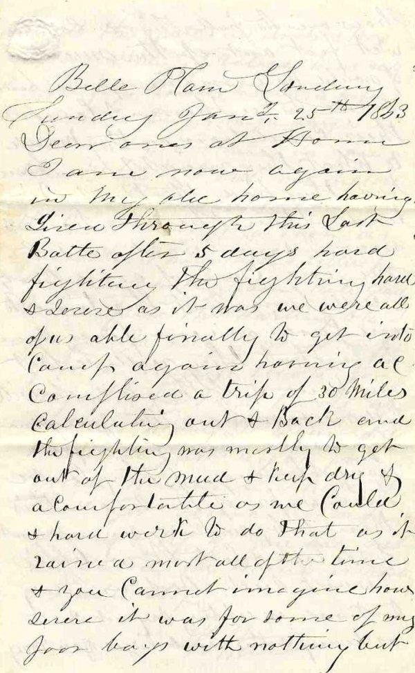 Civil War Soldier Letter ALS ME 16th Infantry Mud March