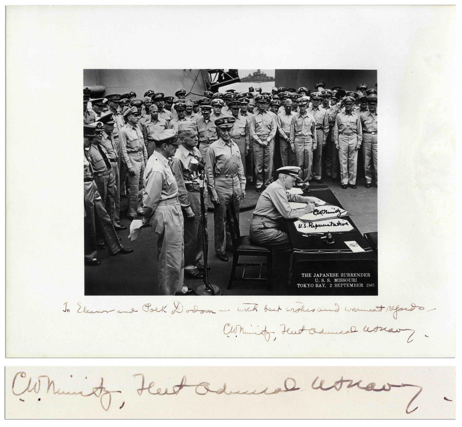 Chester Nimitz Signed 14x11 of Japanese Surrender