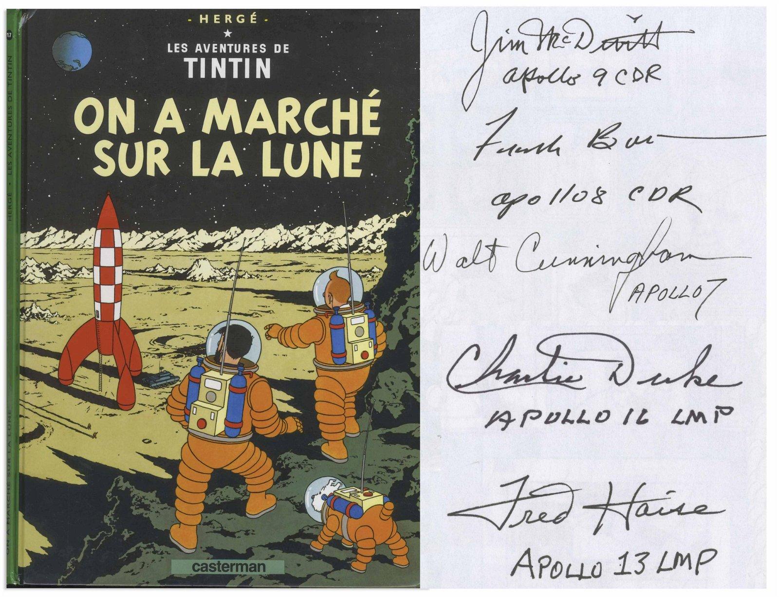 5 Astronauts signed Tintin Moon Landing Book