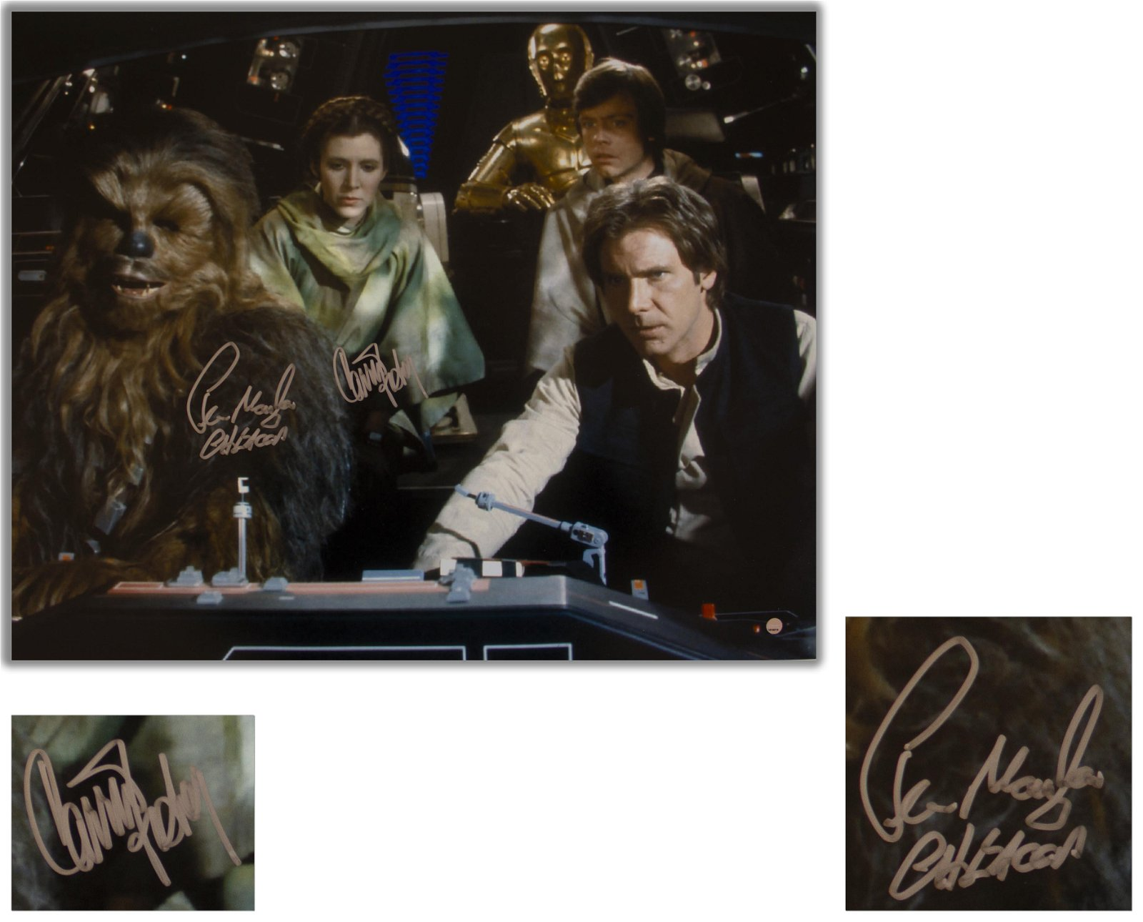 Carrie Fisher & Chewbacca Signed 20x16 Photo