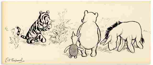 E.H. Shepard Winnie Pooh Corner Orig. Art Signed