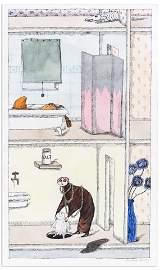 """Edward Gorey Watercolor ''Les Roses bleuatres…"""""""