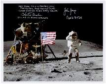John Young and Charlie Duke Signed 10 x 8 Lunar Salute