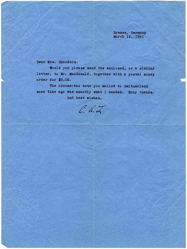 1: Typed Letter Signed Charles Lindbergh Autograph TLS