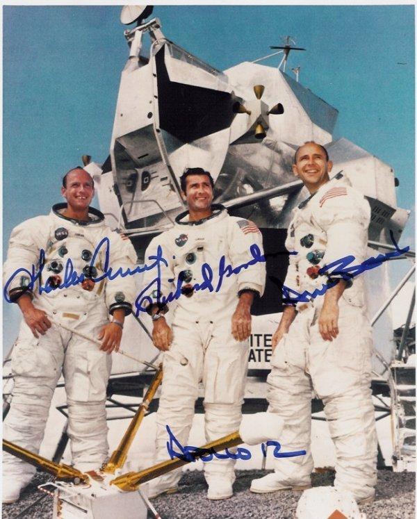 3: 8x10 Apollo 12 Photo Signed Bean Conrad Gordon NASA