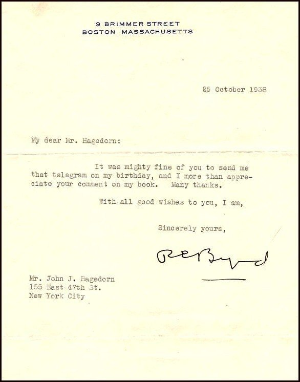 11: Richard Byrd TLS Typed Letter Signed Signature Auto