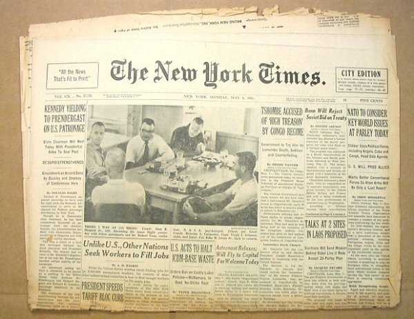 13: New York Times 1961 First US Man Space Alan Shepard