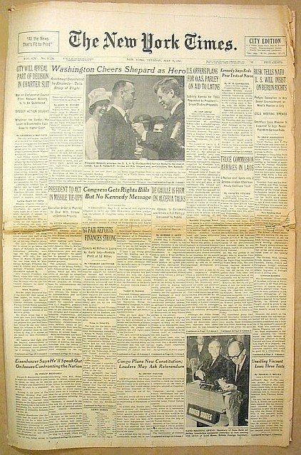14: New York Times 1961 First US Man Space Alan Shepard