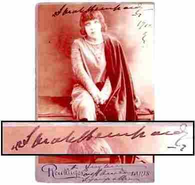 44: Sarah Bernhardt Signed Cabinet Photo Signature Sig