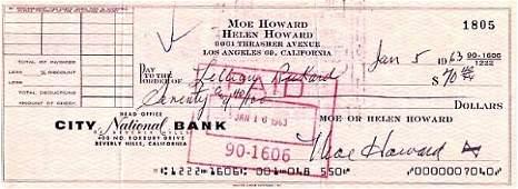74 Moe Howard Signed Check Signature Autograph Sig