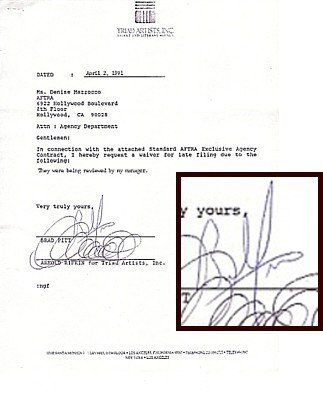92: Brad Pitt Signed Contract Signature Autograph Sig