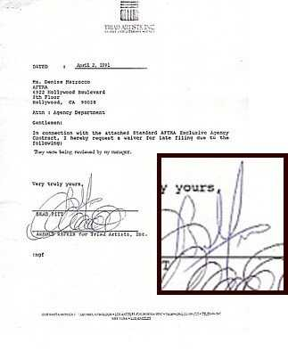 92 Brad Pitt Signed Contract Signature Autograph Sig