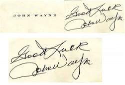 111: John Wayne Signed Card Autograph Signature Sig