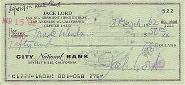 214 Jack Lord Signed Check Autograph Signature Sig