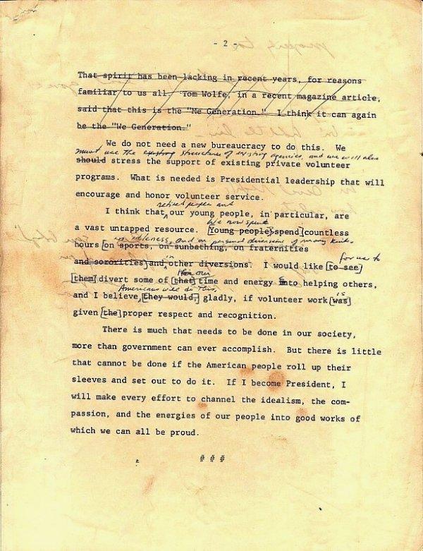 590: Jimmy Carter Annotated 1976 Typed Speech Handwritt