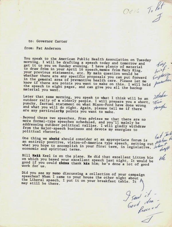 591: Jimmy Carter Annotated 1976 Typed Speech Handwritt