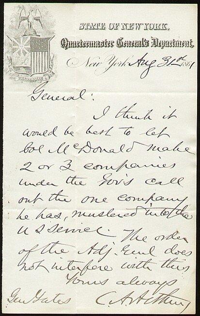593: Chester A. Arthur Autographed Letter Signed Signat