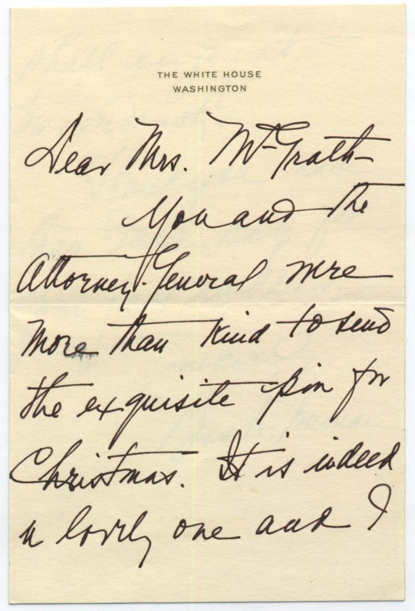 597: Bess Truman Autographed Letter Signed White House