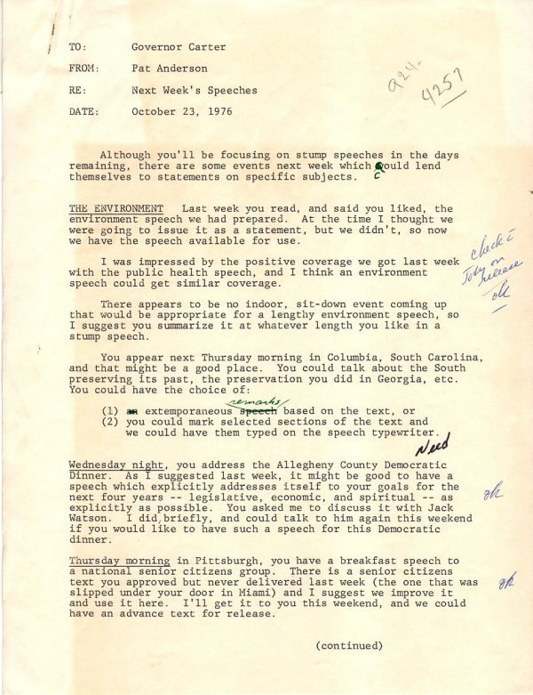 598: Jimmy Carter Campaign Speech Notes Typed Letter Au