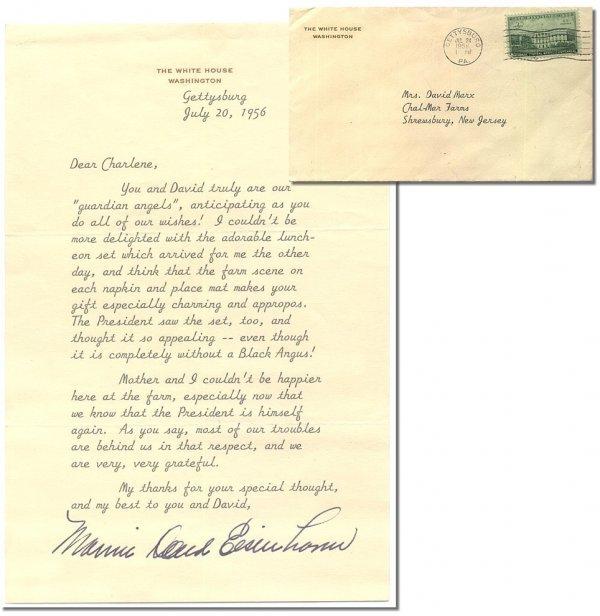 599: Mamie Eisenhower TLS Typed Letter Signed White Hou