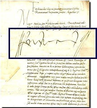 600: Ferdinand I Signed Folio Document Dated Signature