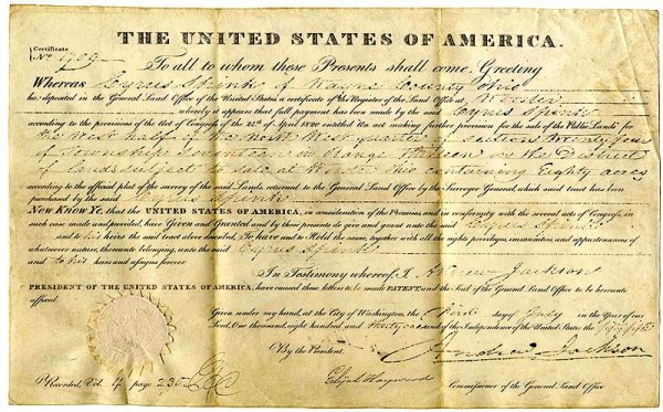 602: President Andrew Jackson Signed Land Grant DS Auto