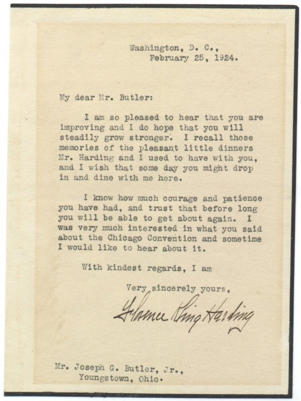 604: First Lady Florence Harding Typed Letter Signed Au