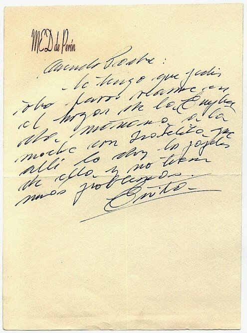 611: Eva Peron Autograph Letter Signed Evita Autograph