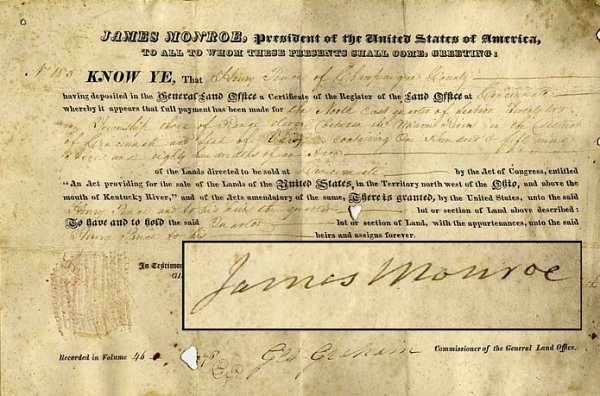 612: President James Monroe Document Signed Autograph S