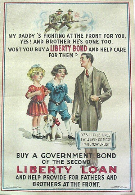 780: WWI Liberty Loan Color Poster Illustrated Crocker