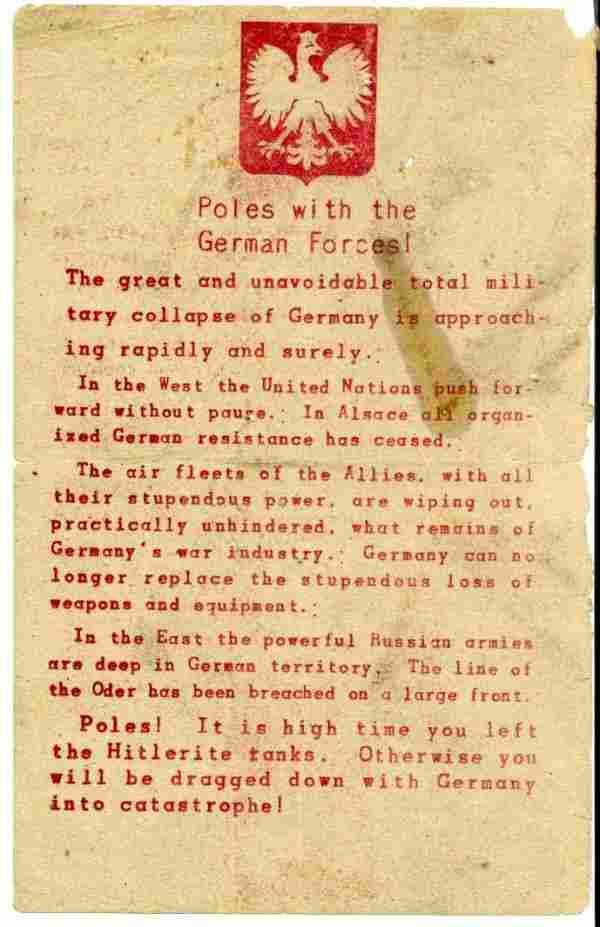 804: WWII Allied Propaganda Broadside English Polish Fl