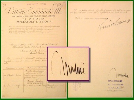 833: Italian Document Signed Benito Mussolini Vittorio