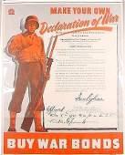 852: Original WWII War Bonds Poster Declaration War Ag