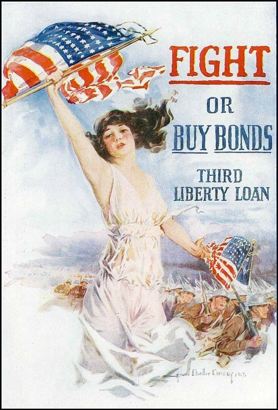 853: Howard Chandler Christy WWI Poster Third Liberty L