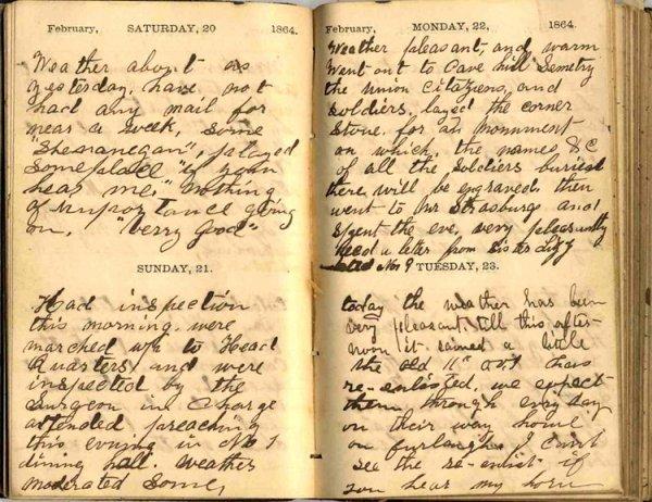 992: 1864 Diary Hospital Louisville KY Civil War Soldie